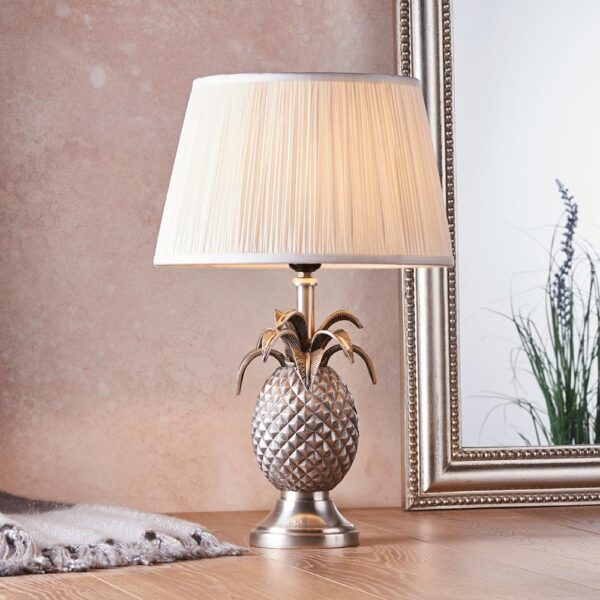 Endon 1 light pewter finish pineapple table lamp pleated vintage white silk shade roomset