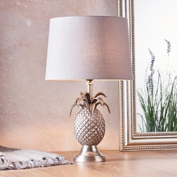 Endon 1 light pewter finish pineapple table lamp charcoal grey linen shade roomset