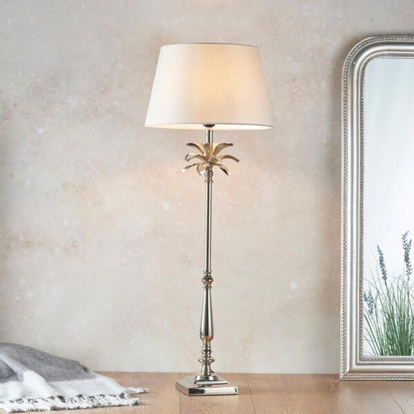 Leaf Large Candlestick Table Lamp Polished Nickel Grey Cotton Shade