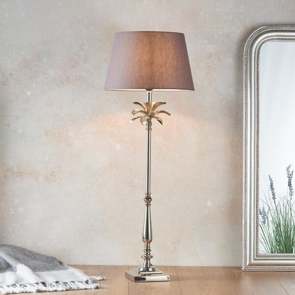 Endon Leaf large candlestick table lamp polished nickel charcoal cotton shade roomset