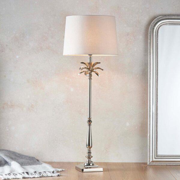 Endon Leaf large candlestick table lamp polished nickel natural linen shade roomset