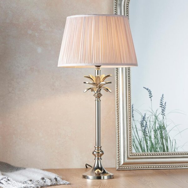 Leaf Small Candlestick Table Lamp Polished Nickel Dusky Pink Silk Shade
