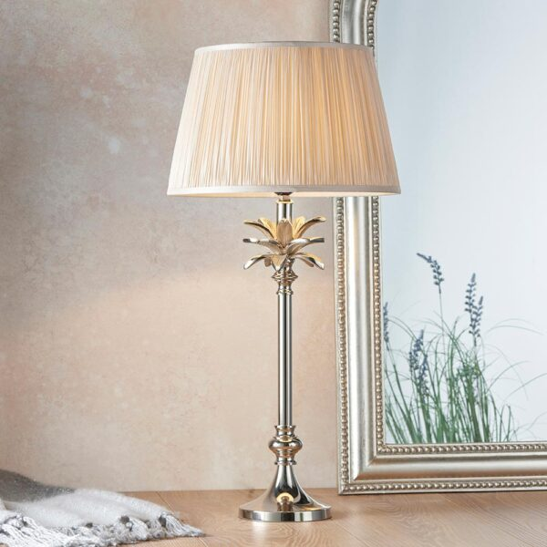 Endon Leaf small candlestick table lamp polished nickel oyster silk shade roomset