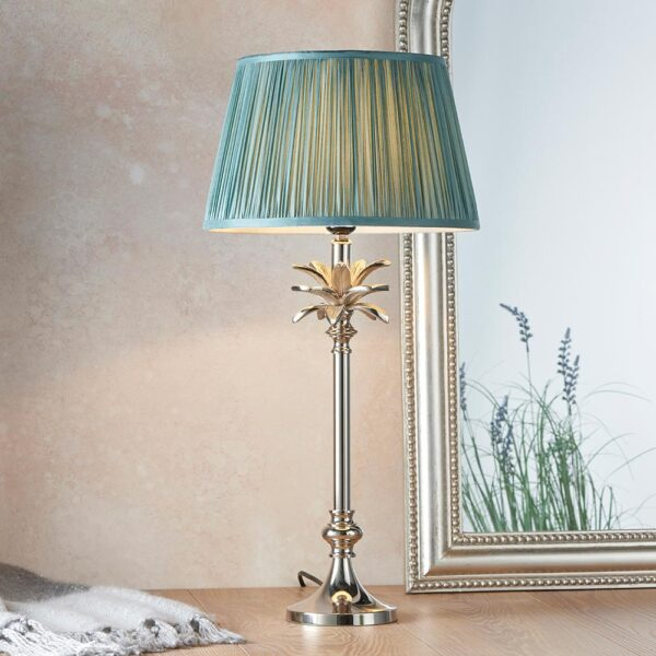 Endon Leaf small candlestick table lamp polished nickel fir green silk shade roomset