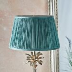Leaf Small Candlestick Table Lamp Polished Nickel Fir Green Silk Shade