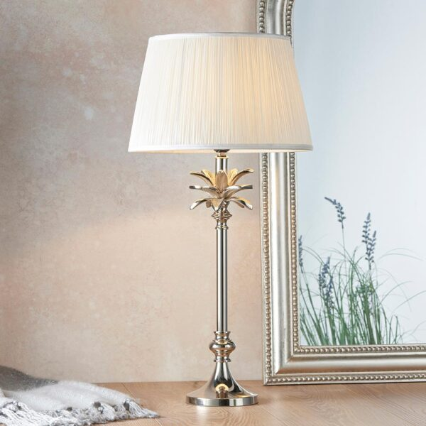 Endon Leaf small candlestick table lamp polished nickel white silk shade roomset