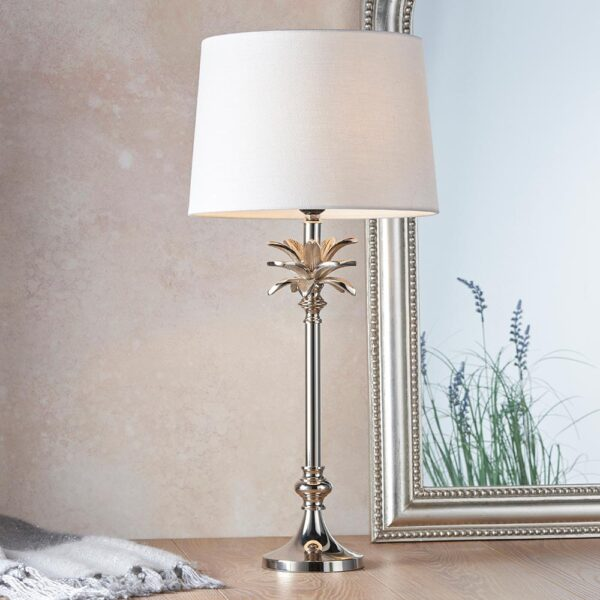 Endon Leaf small candlestick table lamp polished nickel white linen shade roomset
