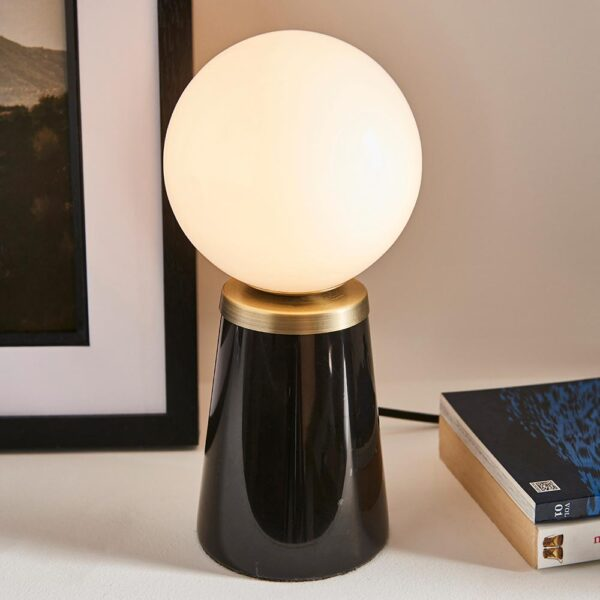Otto tapered black marble table light with opal glass globe shade main image
