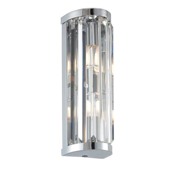 Endon Shimmer Crystal 2 Lamp Bathroom Wall Light Polished Chrome