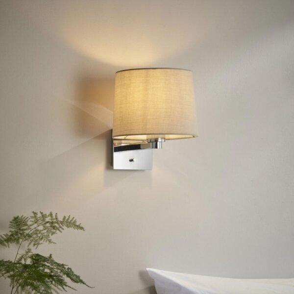Issac Switched 1 Lamp Bedside Wall Light Chrome Taupe Tapered Shade