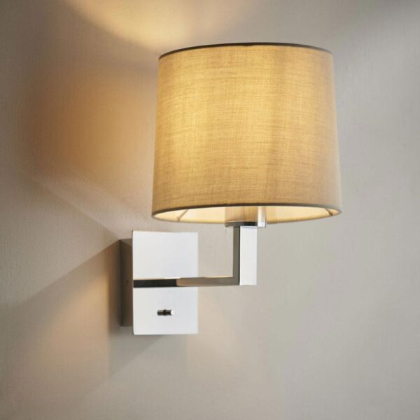Norton switched bedside wall light chrome & taupe cotton tapered shade main image