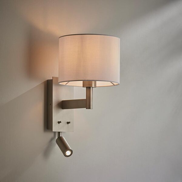 Endon Owen switched bedside wall reading light matt nickel & white cotton drum shade main image