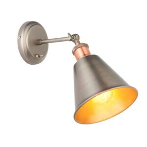 Hal Industrial 1 Lamp Switched Wall Light Pewter / Copper Cone Shade