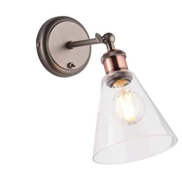 Hal Industrial 1 Lamp Switched Wall Light Pewter / Copper Glass Shade