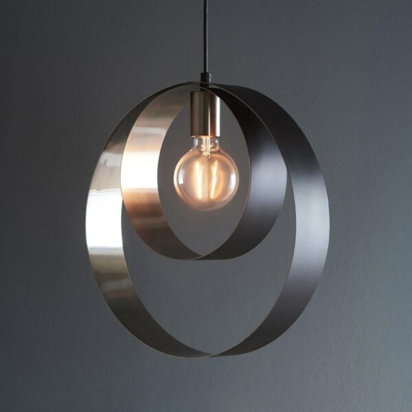 Cal Contemporary Circular 1 Light Ceiling Pendant Satin Nickel / Matt Black