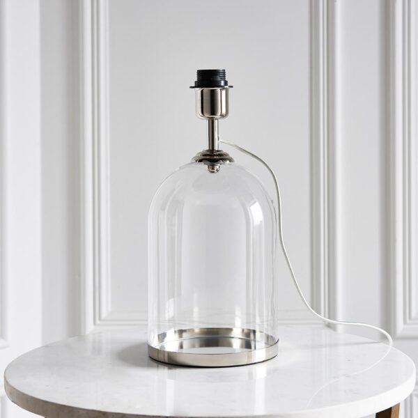 Endon Dinton clear bell glass table lamp base only polished nickel main image
