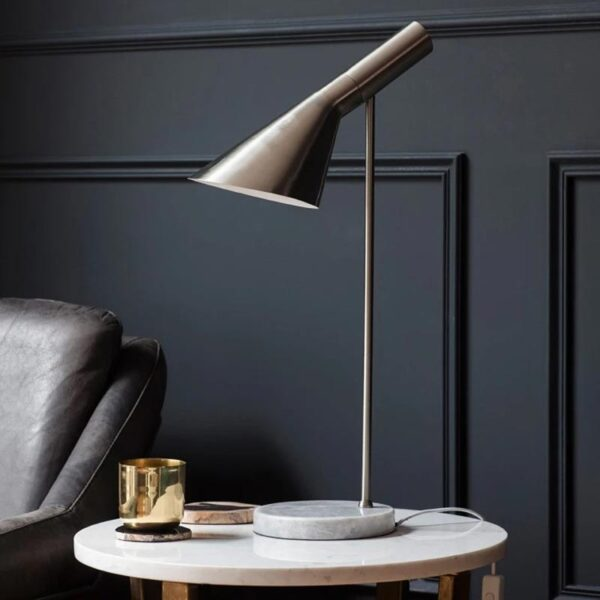 Endon Carlo designer table task lamp brushed chrome with grey marble roomset