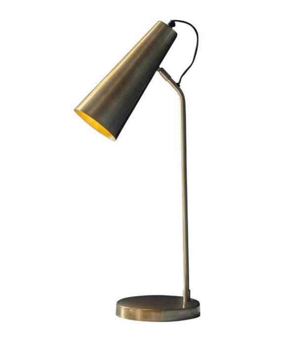 Karna Modern 1 Light Table Task Lamp Antique Brass Gold Shade Inner