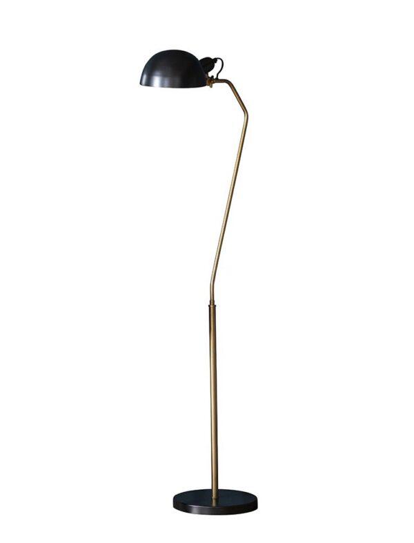 Endon Largo retro table task lamp aged brass satin black full height