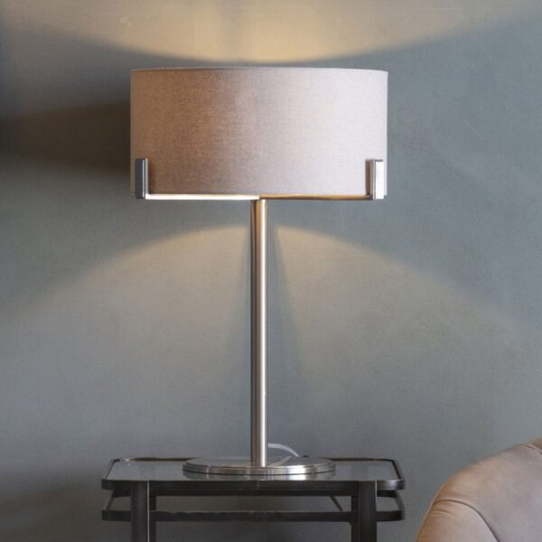 Endon Hayfield 1 light table lamp with slate grey drum shade in satin nickel roomset