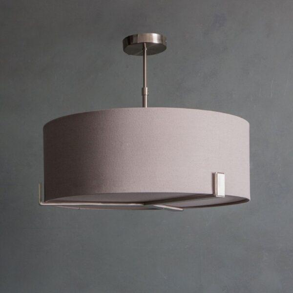 Endon Hayfield 3 Light Ceiling Pendant Slate Grey Shade Satin Nickel