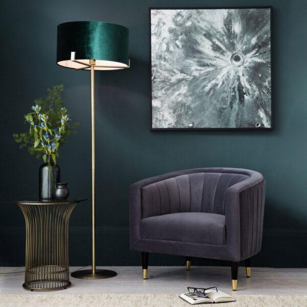 Endon Hayfield Floor Lamp Standard Green Velvet Shade Antique Brass
