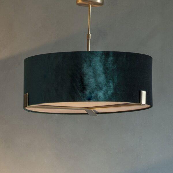 Endon Hayfield 3 Light Ceiling Pendant Green Velvet Shade Antique Brass