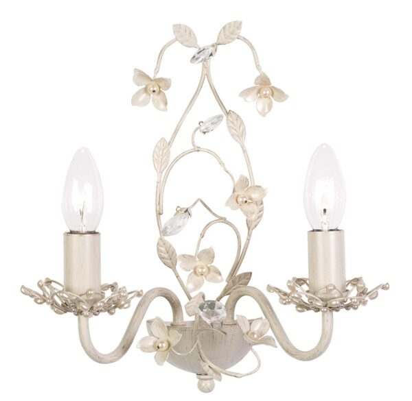 Endon Lullaby Floral Twin Wall Light Country Cream & Gold Acrylic Drops