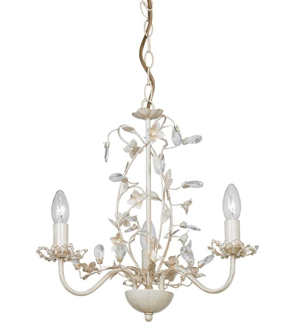 Endon Lullaby 3 Light Chandelier Country Cream & Gold Acrylic Drops