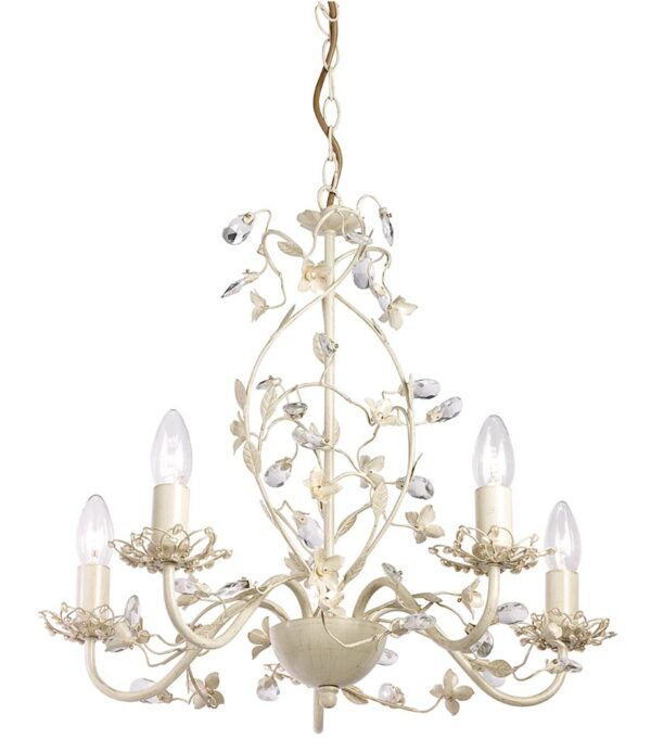 Endon Lullaby 5 Light Chandelier Country Cream & Gold Acrylic Drops
