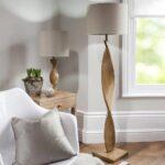 Abia Scandinavian Style 1 Light Wooden Spiral Floor Lamp Linen Shade