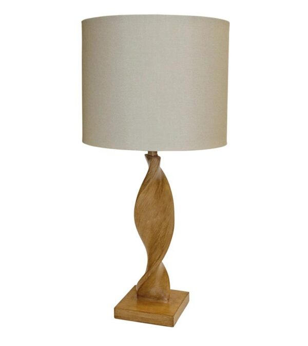 Endon Abia 1 light wooden spiral table lamp natural linen shade main image