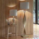 Abia Scandinavian Style 1 Light Wooden Spiral Table Lamp Linen Shade