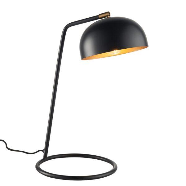 Brair 1 light retro style table lamp matt black & aged gold white background