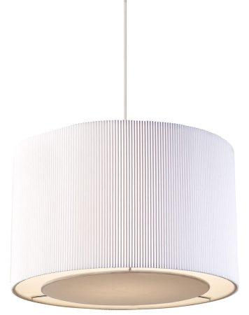 Colette Ceiling Pendant Drum Lamp Shade White Micro Pleated Fabric
