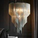 Endon Loire Chain Sculpture 7 Light Pendant Chandelier Polished Nickel