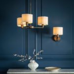 Endon Daley Switched Single Wall Light Antique Bronze Marble Shade