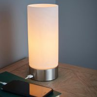 Endon Dara Touch Dimmer Table Lamp USB Opal Glass Brushed Nickel