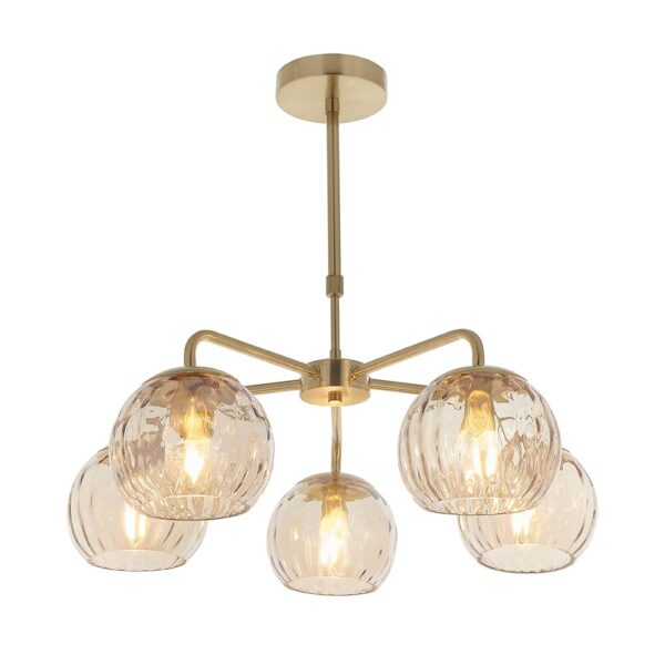 Dimple Champagne Glass 5 Arm Pendant Ceiling Light Brushed Brass