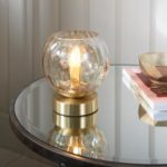 Endon Dimple Champagne Glass 1 Light Table Lamp Brushed Brass