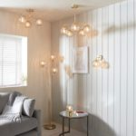Dimple Champagne Glass 3 Arm Semi Flush Ceiling Light Brushed Brass
