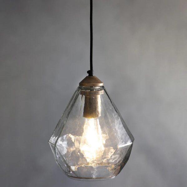 Endon Ebbe Classic 1 Lamp Glass Pendant Ceiling Light Antique Gold