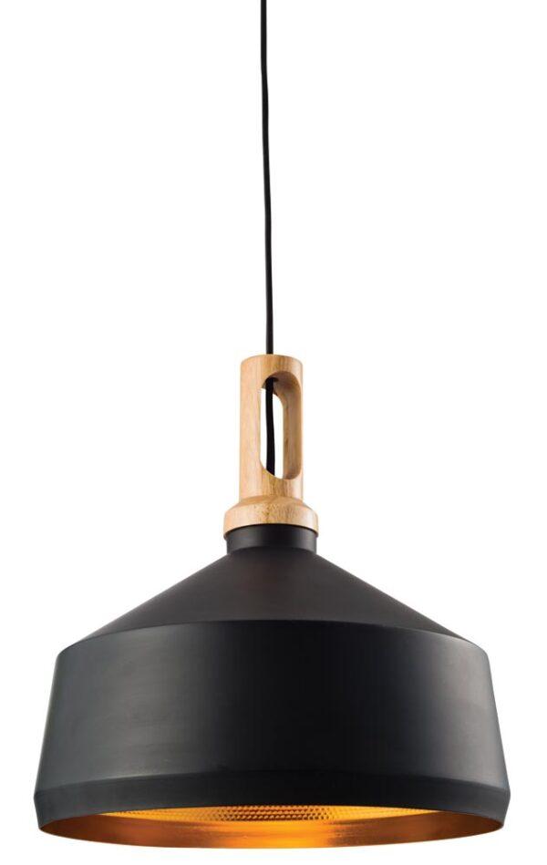Endon Garcia 1 Light Pendant Ceiling Light Matt Black Gold Inner