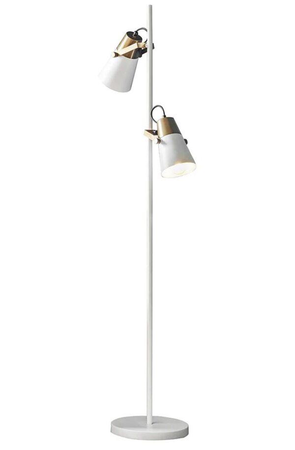 Endon Gerik White 2 Light Floor Reading Task Lamp Aged Gold Detail