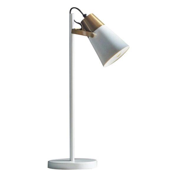 Endon Gerik White 1 Light Task Reading Table Lamp Aged Gold Detail