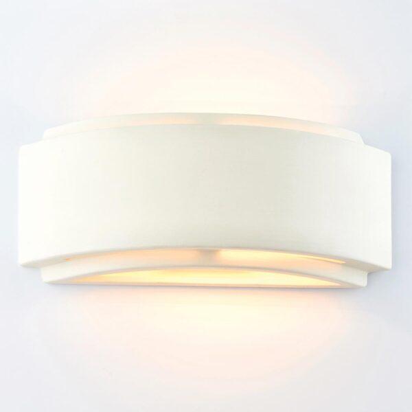 Endon Gianna Curved 1 Lamp Unglazed White Ceramic Wall Washer Light