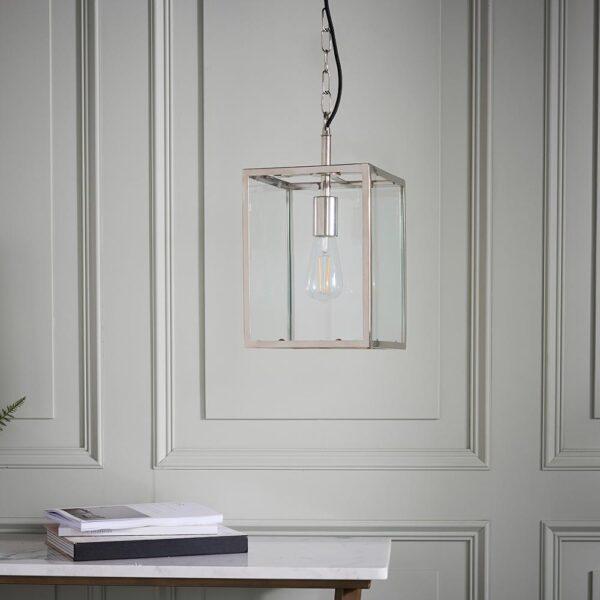 Endon Hadden 1 Light Hanging Box Lantern Polished Nickel Clear Glass