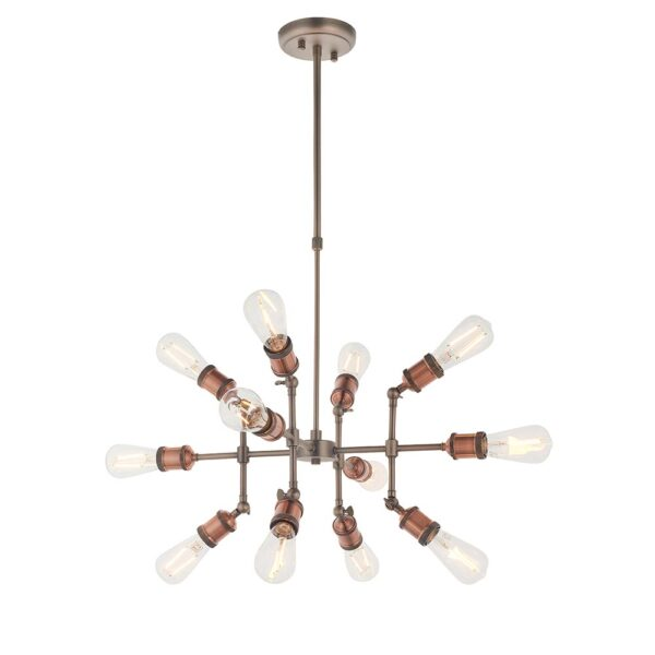 Hal industrial style 12 lamp pendant ceiling light pewter & copper main image