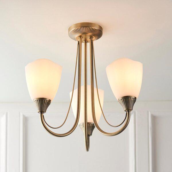 Haughton antique brass 3 arm semi flush ceiling light main image