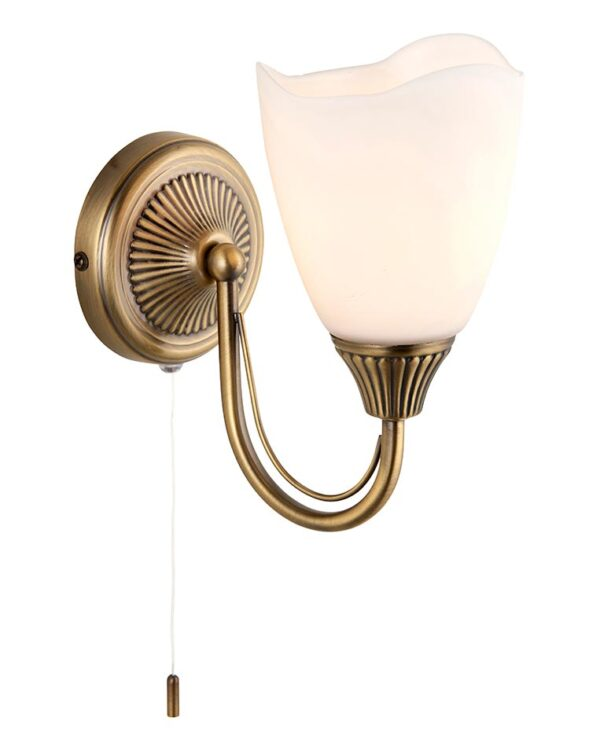 Haughton Traditional Switched Antique Brass Single Wall Light Opal Glass